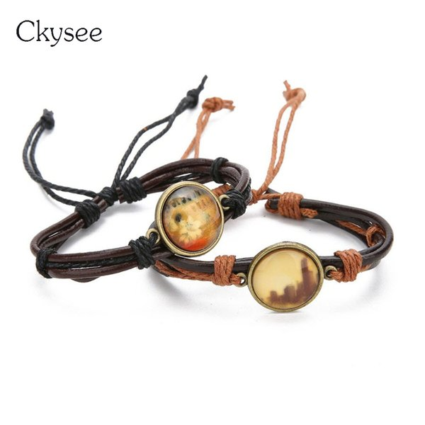 Ckysee 2019 Vintage Round Dry Flower Glass Cabochon  Bracelet For Women Black Brown Color Adjustable Rope Chain Bracelet