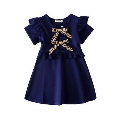 Mädchen Designer Kleider 2019 Sommer Neue Mode Einfarbig Kleid Luxus Bogen Britischen Stil Brief FF Princes Dress 3 Farben Kinder Kleidung