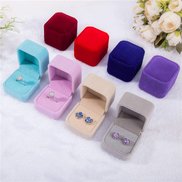 top popular Fashion Square Ring Retail Box Wedding Jewellery Earring Ring Collection Organizer Holder Storage Cases Gift Packing 2021