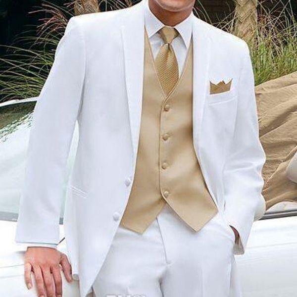 Smoking da sposa bianco e oro per uomo Abiti da palcoscenico 2019 Ultimi blazer con risvolto a 3 pezzi Personalizzati Abiti da uomo Giacca Giacca Gilet