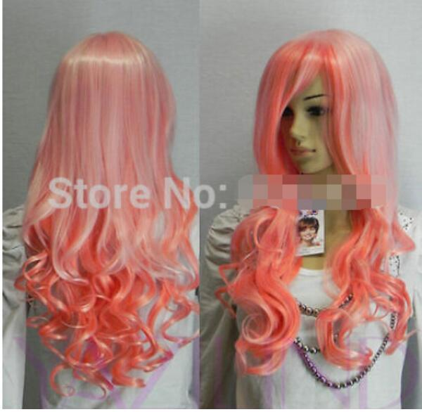 FREE SHIPPING + ++ + white pink lolita full synthetic long curly wavy hair wig fancy dress wigs vogue