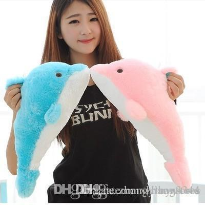 Wholesale-1pcs 27cm Lovely Stuffed Blue Dolphin Toy Doll Baby Toy Kids Toy Children's Day Gift