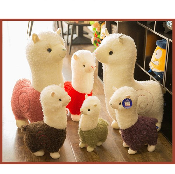 2019 lovely alpaca wool plush toy custom soft pp cotton animal sheep doll horse sheep pillow creative gift gift for girlfriend's gift