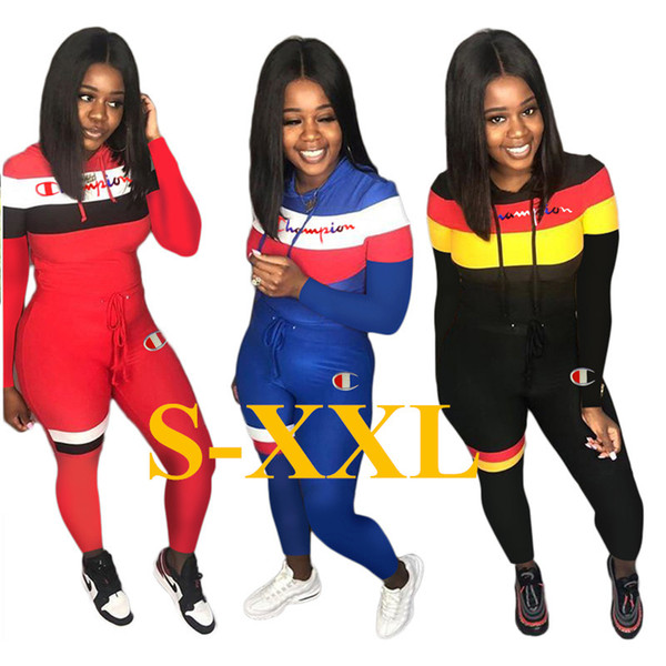 Embroidery Brand Women Tracksuit Champion Letter Long Sleeve Pullover Hooded Tops Pants Legging Two Piece Set Outfits Jogging Clothes C92001