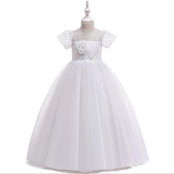 New White Tulle Girls Prom Flower Girl Wedding Dresses Kids Party Princess Pageant Birthday Dress First Communion Gown
