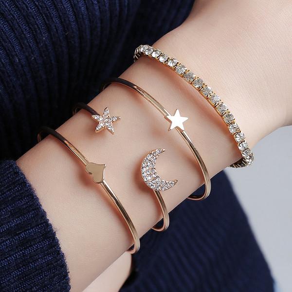 Luxury Gold Charm браслеты браслет для женщин Простые моды Star Moon Алмазный персик сердца браслет из четырех чехлов комплект браслетов Бесплатная доставка
