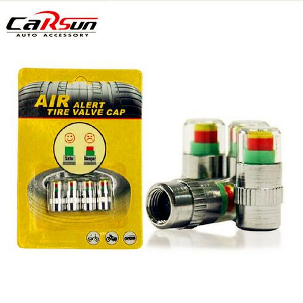 TPMS Car Bike Tire Pressure Valve Stem Cap Sensor Indicator 32PSI 2.2Bar 4 Piece
