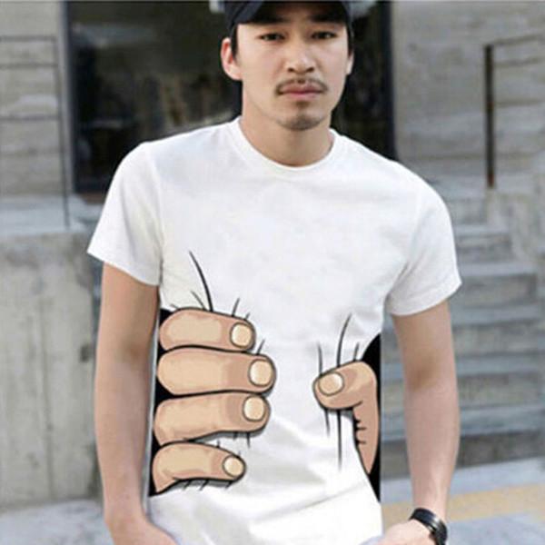 Fashion Men's Clothing O-neck Short Sleeve Men Shirts 3D Big Hand T Shirt men Tshirts Tops Tees For Man free shipping