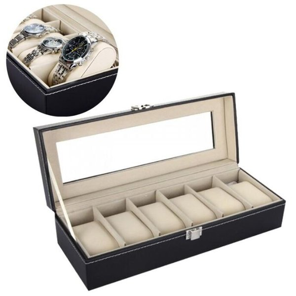 6 Grids Black Watch Storage Box Case - Top Quanlity Watch Bracelet Organizer Watches Boxes Cases - Jewelry Watch Display Gift Case