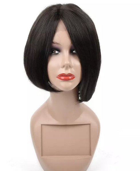 100% unprocessed virgin human hair fashion natural color new natural straight short full lace top wig for sale