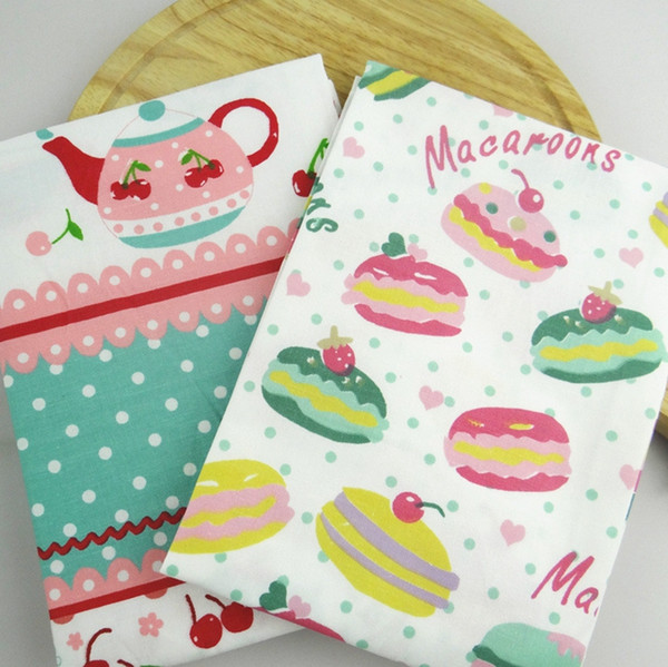 Table Napkins Cherry Macaron Printed Cotton Tea Towels Table Cloths Cleaning Cloth Kitchen Restaurant Mats 38*58cm Wholesale YW3839