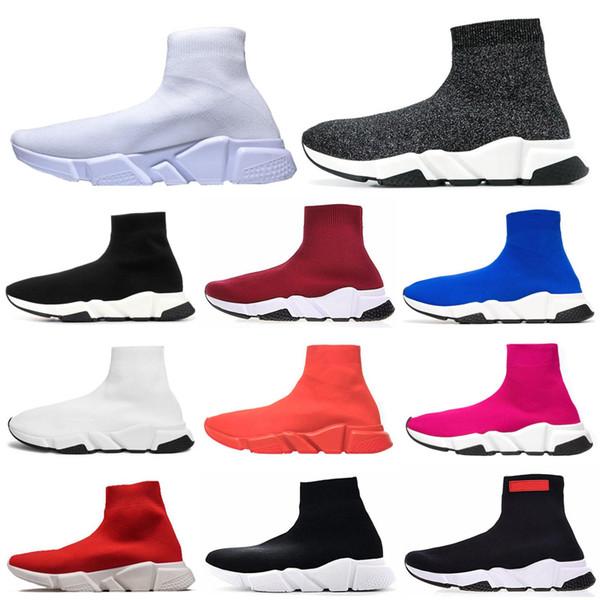 Moda stil Hız Koşucu Çorap Siyah örgü yüksek Erkek Womans tasarımcı ayakkabı Kesim Trainder Streç Boot boyutu eur 36-45