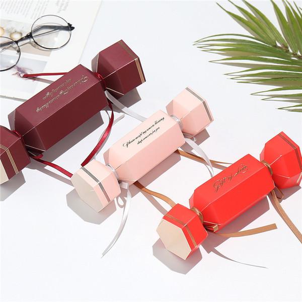 Şeker Şeklinde Kutu Düğün Bebek Şeker Ribbon ile Kutu Düğün Favor Kutusu Kırmızı Pembe Şarap Renk Şeker Kutuları Yana