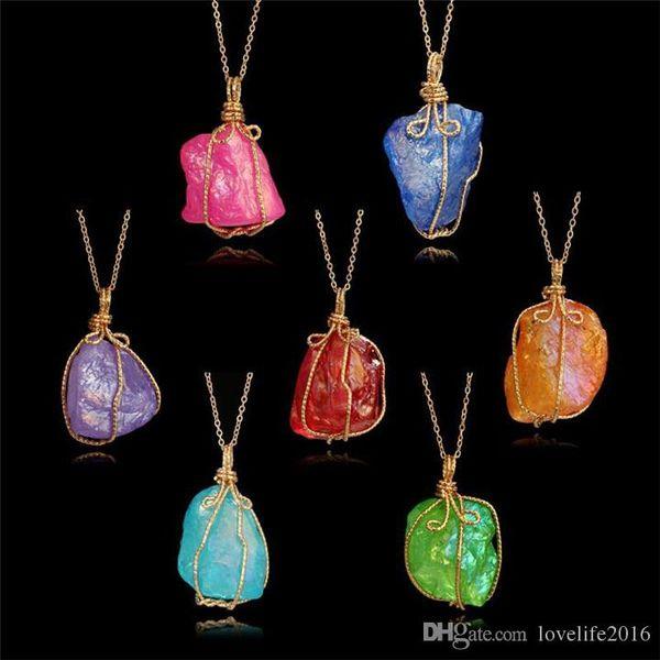 2019 New Beautiful Colorful Druzy Stone Drusy Crystal Pendant Necklace Gold Chain Irregular Natural Stone Necklace Women Fashion Jewlery B00