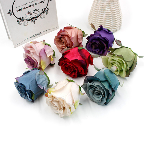 5Pcs/lot Silk Rose Artificial Flowers Head Handmade Bridal Wreath Scrapbook for Wedding Home Decoration DIY Craft Fake Flowers