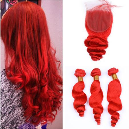 Loose Wave Bright Red Peruvian Human Hair Bundles 3Pcs with Closure Red Colored Loose Wavy Virgin Hair Weaves with 4x4 Lace Front Closure