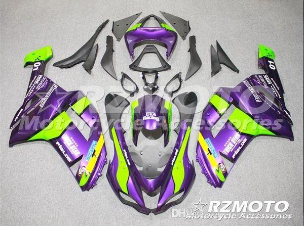 3 Free gifts New Motorcycle Fairing kit for KAWASAKI Ninja ZX6R 07 08 ZX6R 636 2007 2008 TOP ABS Fairings set Purple Green Q3