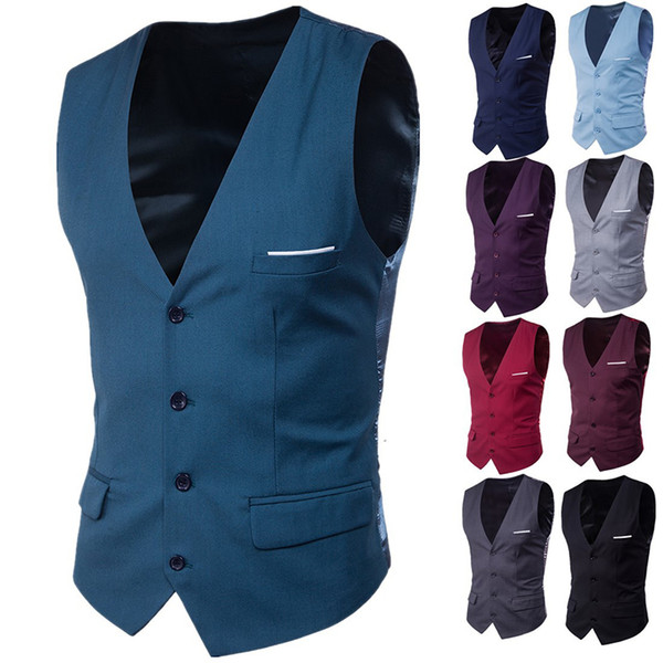 High Quality New Korean Small Vest Male 2018 Business Casual Vest Male Pocket Patch 9 Color Big Size 6XL Increase Suit Y1