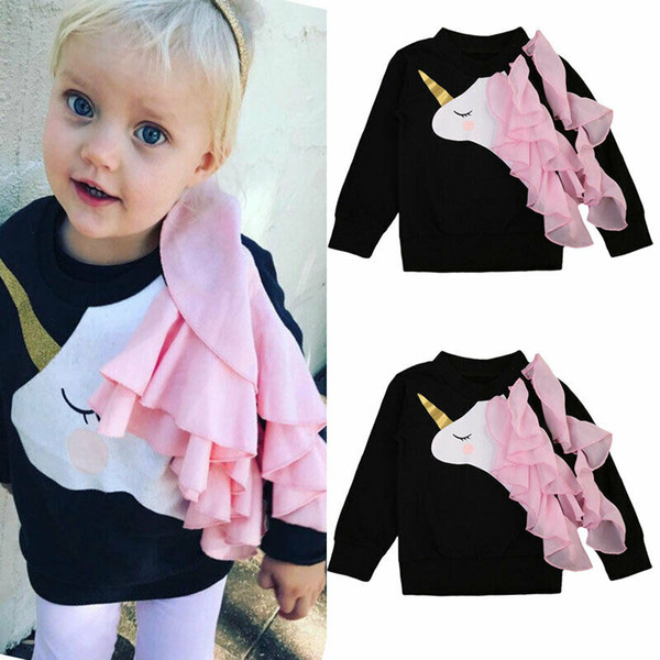 top popular Toddler Baby Girls Long Sleeve Unicorn Ruffle Tops Sweatshirts Clothes Stock 2021