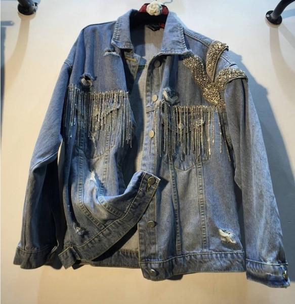 Nueva moda tachonado agujeros Denim Coat mujeres 2019 primavera y otoño ropa pesada Diamond Bead Drill sueltos Jeans chaqueta Outwear