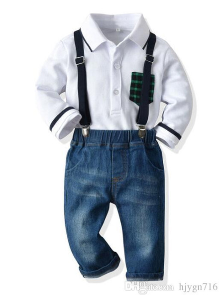 2019 Ins Autumn and Winter New Long Sleeve Polo Shirt Colour Pocket Fashion Jeans Retro Belt Trousers European and American Children's