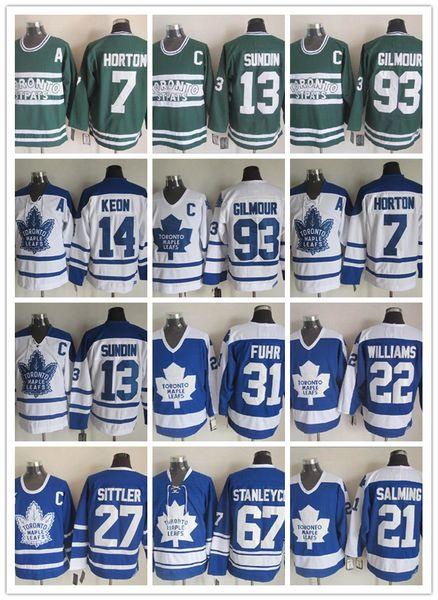 Maglie Uomini Toronto Maple Leafs Grant Fuhr 14 Dave Keon 27 Darryl Sittler 7 Tim Horton 93 Doug Gilmour Vintage Classic Hockey Jersey