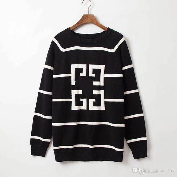 moda suéter de los amantes del monograma impreso de manga larga de los hombres de lujo del suéter del otoño suéter holgado suéter envío libre S-3XL # 00