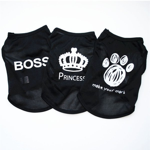 pet clothing fashion puppy small dog cat vest t shirt summer polyester clothes for all sized cats little dogs boss princess