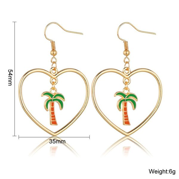 Women Hallow Heart With Coconut Tree Drop Earrings Cute And Romantic Earrings Handmade Individuality Korean Wedding Jewelry