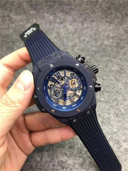 Factory wholesale Brand Designer Fashion Luxury Wristwatches Mens sports Watch Big Bang Chronograph Male clock Black rubber Mens Deluxe Watc