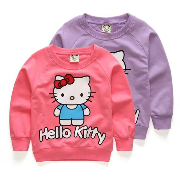 Girls Jacket Coats Cartoon Hello Kitty Kids Children Clothes Hoodies Autumn Top Baby Girl Terry Sweater Coat Fashion Sweatshirt