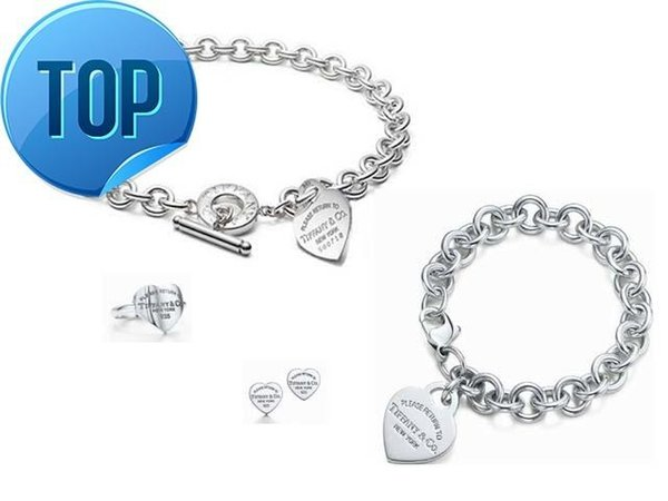 2019 2019 Alta Celebrity diseño de letra 925 pendientes de la pulsera del anillo del collar de plata en forma de corazón de plata de metal de 3 piezas Juego de joyería con la caja