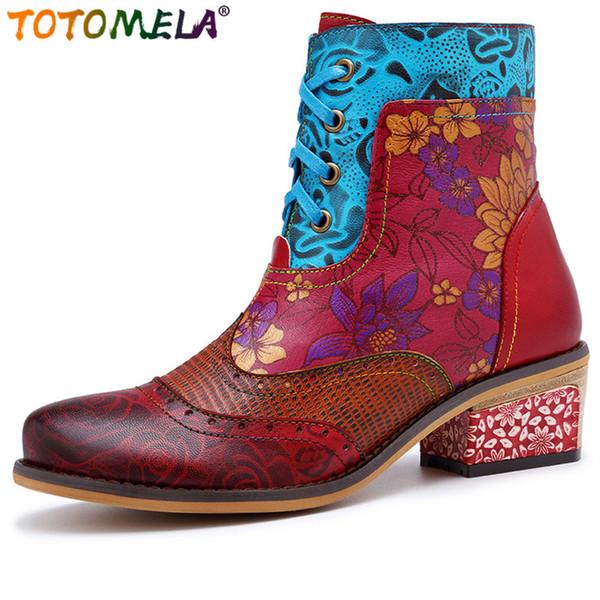 TOTOMELA 2019 Echtes Leder Stiefel Vintage Reißverschluss schnüren sich oben quadratische Fersen Mode Damen Damen Stiefeletten weibliche Herbstschuhe