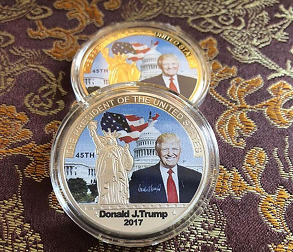 top popular Fashion 2017 American 45th President Donald Trump Commemorative Coin United States Avatar Gold Coins Silver Badge Metal Craft Collection DHL 2021