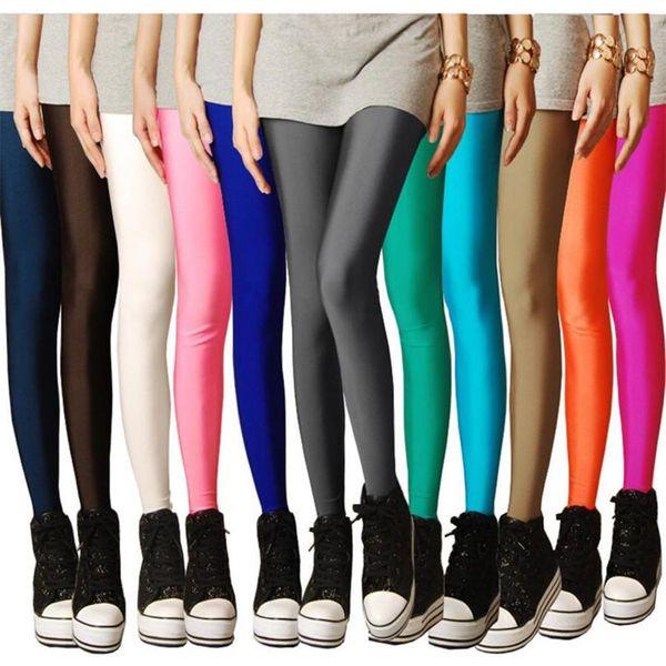 Новые модные женские повседневные эластичные талии твердые полные брюки леггинсы