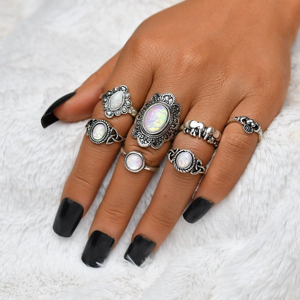 7Pcs/Set Antique Vintage Silver Artificial Stone Ring Sets Fashion Zinc Alloy Rings For Women Party Club Jewelry R605