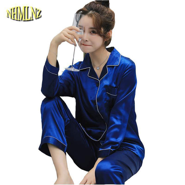 Pajamas Women Spring Autumn Long Sleeved Ice Silk Korean Student Pajama  Sets Simulation Silk Fashion New Home Service Suit LY501 5cbfe632e