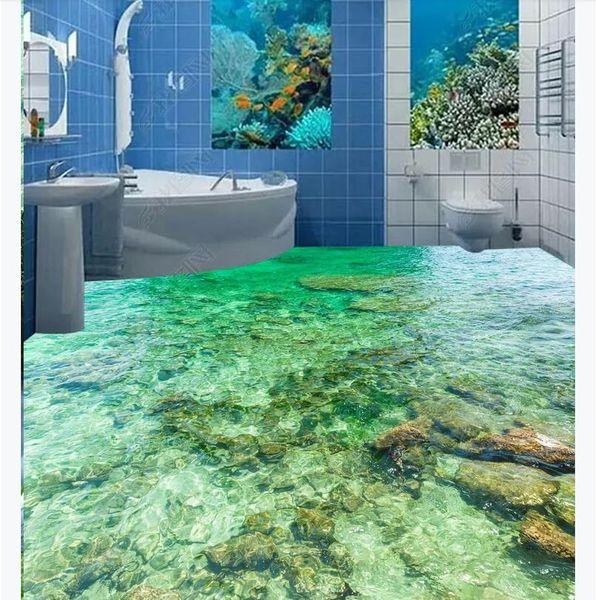 3D custom self-adhesive waterproof photo floor mural wallpaper Beautiful sea water surface ripple 3D bathroom floor stickers