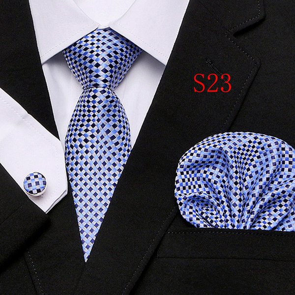 New Polyester Silk Classic Men Neck Ties Clip Hanky Cufflinks sets Floral brand Formal Wear Business Wedding Party Mens Tie 22