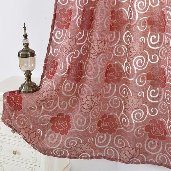 padrão Peony Tulle tela telas janela Sheer Voile Cortinas Drape Painel Janela Decor 100 * 250cm cortina cortinas da sala