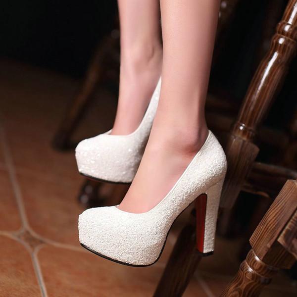 Scarpe da donna Scarpe col tacco alto Scarpe da donna Scarpe da sposa per le feste Scarpe da sposa Tacco a blocchi Scarpe da donna argento oro bianco
