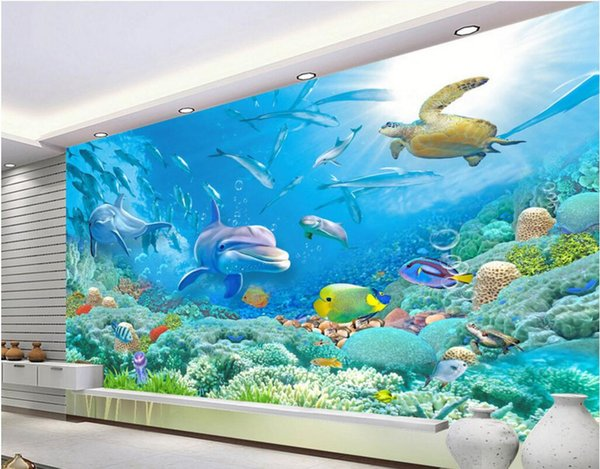 Wdbh 3d Wallpaper Custom Photo Big Picture Sea World Dolphin Fish Coral Living Room Home Decor 3d Wall Murals Wallpaper For Walls 3 D Free Wallpaper
