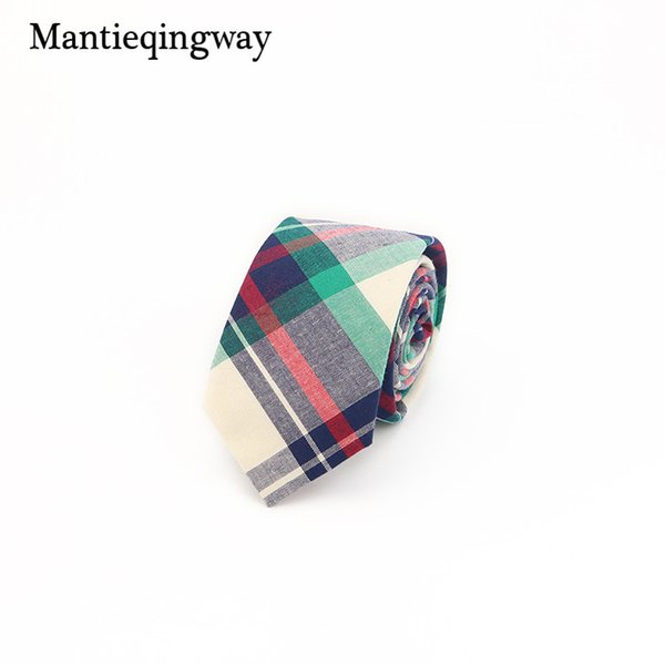 wholesale Plaid Mens Neck Ties Neckwear Fashion Formal Wear Business Suit Tie Stripe Slim Cravat Cotton Skinny Brand