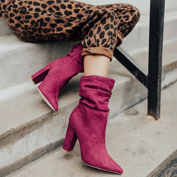 Kadın Moda Sivri Burun Yüksek Topuk Kısa Boots 2019 Yeni Bayanlar Katı Renk Süet Deri Pileli Çizme Ofisi ve Parti Ayakkabıları