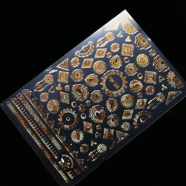 Women 3D Metallic Nail Art Stickers Tattoos Star Moon Lace Gold Decor Tip DIY