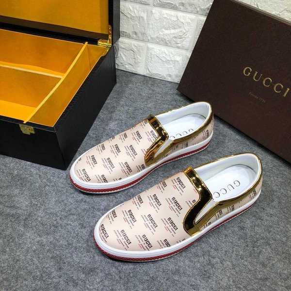 guccimenwomen New Italy GG sports men s shoes tennis shoes leather outdoor casual men s fitness running shoes free shipping 40-44