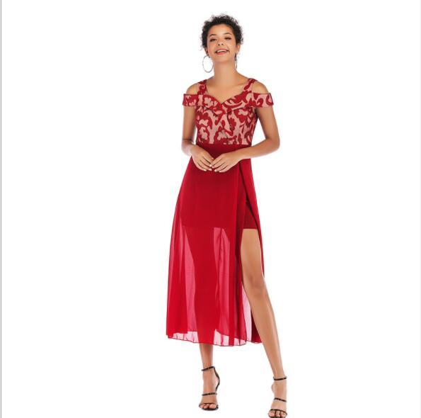 2019 robes d'été pour les femmes concepteur de vacances robes slash cou dames maxi d'impression jupes robes de soirée de mode 3 couleurs s-l en gros