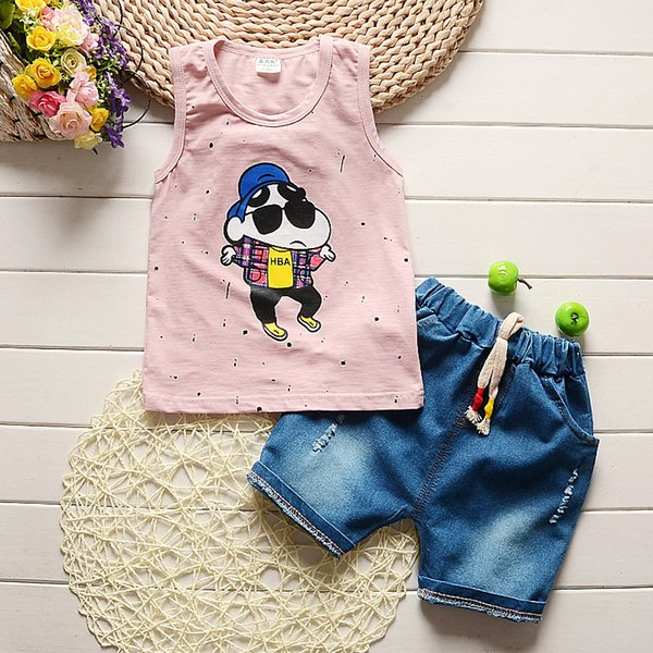 quality 2019 summer baby boys clothing set kids cartoon stylish clothes boys clothing set 2PCS kids girls clothes Sport suit