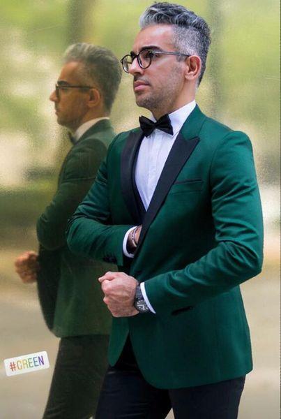 Smoking verde sposo abiti da sposa uomo abiti da sposa uomo smoking costumi de smoking pour hommes uomini (Jacket + Pants + Tie) 040