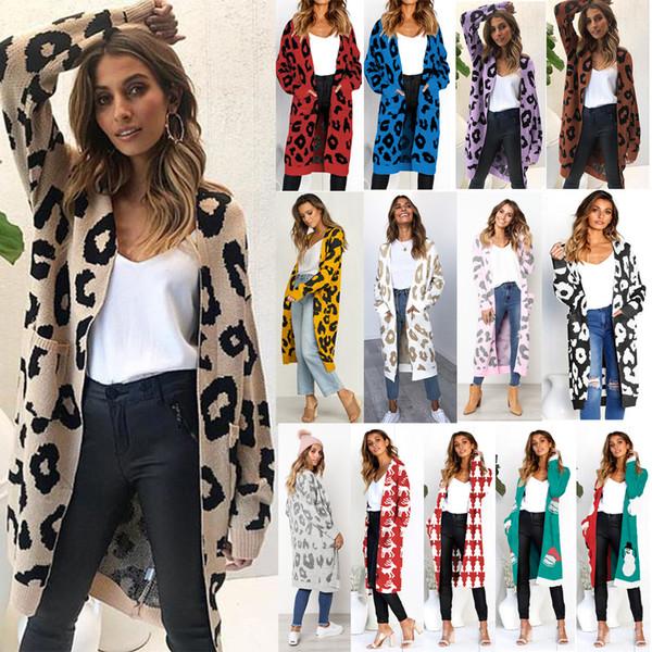 Womens leopardo maniche lunghe Inverno nuovo modo di stampa Maglione Pocket Ladies Open Stitch Kimono cardigan esterna Streetwear Coat Top